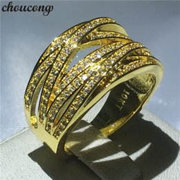 $enCountryForm.capitalKeyWord Australia - choucong 2018 cross ring 10KT Yellow Gold Filled Engagement Wedding Band Rings For Women Pave setting Diamond cz Jewelry Gift