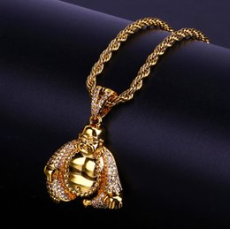 $enCountryForm.capitalKeyWord Australia - Hiphop Maitreya Pendant Necklaces For Men 18K Gold Plated Cubic Zirconia Hip Hop Jewelry 2019 Fashion Ice Out Necklace