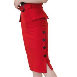 8ff1d51b09 High Waist Pencil Skirts Women Plus Size Open Slit Elegant Ladies Office  Skirt Casual Ol Slim Fit Bodycon Knee Length Skirt J190515