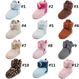 Girls canvas boots online shopping - infant cotton leopard stripes high boots girls boys baby first walkers kids winter crib shoes keep warm