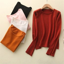 Discount short sleeve cashmere jumper - Short O-Neck Cashmere Knitted Sweater Long Sleeve Wool Women Sweaters And Pullovers Winter Soft Warm Female Knitted Jump