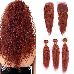 $enCountryForm.capitalKeyWord Australia - #350 Dark Orange Kinky Curly Brazilian Hair Weave Bundles with Closure Pure Orange 4x4 Lace Front Closure with Curly Human Hair Wefts