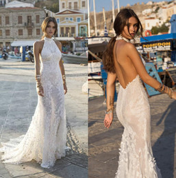 mermaid halter neck wedding dress NZ - Lian Rokman 2019 Mermaid Wedding Dresses Halter Neck Backless Lace Appliqued Beach Bridal Gowns Sweep Train robe de mariée