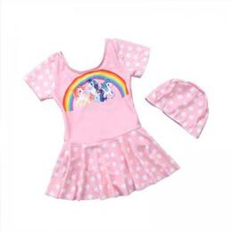 one piece swim dresses 2019 - Unicorn Swimwear Baby Girls One Piece Swimsuit With hat Dress Bikini women Summer Cartoon Rainbow skirt Swim Bathing Sui