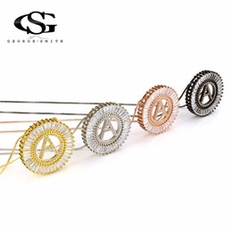 letter g pendant 2019 - GS 4 Colors Stainless Steel Circle Pendant Necklaces For Women 26 English Letter Golden Necklace Men Collares Largos De