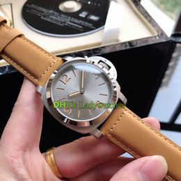 $enCountryForm.capitalKeyWord Australia - Luxury Mens Designer Watches montre de luxe P9001 Mechanical Automatic Watch 44mmm 316L Steel Case Brown Leather Band Grey Dial Wristwatches