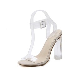 117a9cb81af Women s Lucite Clear Dress Sandal Strappy Block Chunky Clear PVC High Heel  Open Peep Toe Sandal