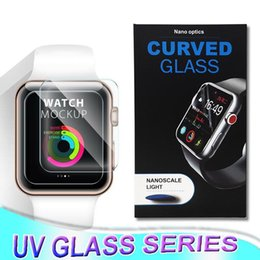 Wholesale 3D full body protection touch good nano liquid UV full glue tempered glass for Apple Watch series mm mm mm mm with UV light