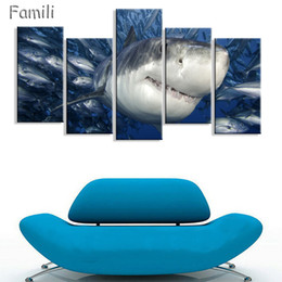 $enCountryForm.capitalKeyWord Australia - 5Panels Canvas Painting HD Ocean Shark Picture Modern Home Wall Art Decoration Print Painting For House Decorate Unframed