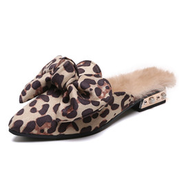 blue pointed bow flats 2019 - Luxury Slippers Women Winter Ladies Fashion Bow Knot Leopard Fur Mules Shoes Woman Low Heels Point Toe Outdoor Slippers