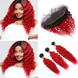 $enCountryForm.capitalKeyWord Australia - Ombre Red Human Hair Frontal Closure and Bundles Deep Wave Curly Two Tone 1B Red Ombre Virgin Hair Weave with Frontal Closures