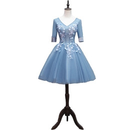 victorian short dress costume UK - Free ship blue short ball gown flower embroidery veil dress Medieval Renaissance Gown princess costume Victorian can customs siz