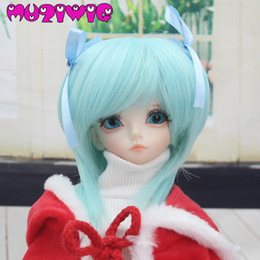 $enCountryForm.capitalKeyWord Australia - wholesale Free Shipping High Temperature Fiber Synthetic Baby Born Mint Green with 2 Bows Doll Wig For 1 4 BJD SD