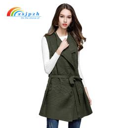 0e2ec254f0 XSJPZH 2017 New Spring Autumn Sweater Vest Women Sleeveless Knitted Jacket  with Belt Veste Femme Long Cardigan Vest Female YQ103