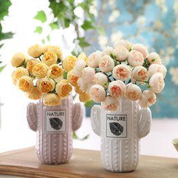 $enCountryForm.capitalKeyWord UK - 27Heads Artificial Fake Camellia Rose Bouquet Silk Flower Wedding Party Home DIY 2019 Best Selling Dropshipping Household Family