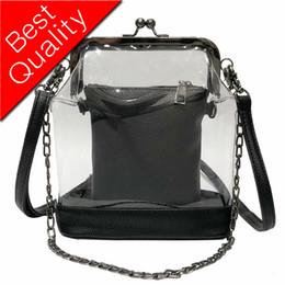 $enCountryForm.capitalKeyWord Australia - 2019 new Clear Transparent PVC Women Shoulder Bags Clip button chain bag Women Messenger Crossbody Bag Luxury Females Bolsa