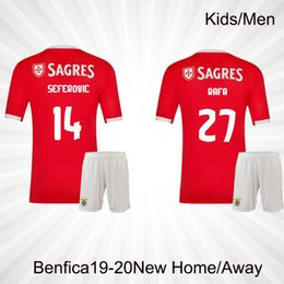 4467d24d251 2019 Benfica Away gray men set Soccer Jerseys 19 20 JOAO RAFA Pizzi Salvio  SEFEROVIC JONAS Raul Jimenez kids kit FOOTBALL SHIRTS