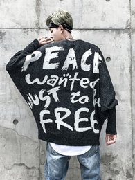 peace printing 2019 - Drop Shipping Spring Men Hip Hop Fashion Sweater Peace Print Oversize Knitted Sweater Black Gray Us Size S-XL cheap peac