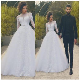 Ball Gown Wedding Dresses Australia - 2019 Long Sleeves White Lace Wedding Dress Ball Gowns See Through Appliques Wedding Bride Gowns Zipper Back Floor Length Wedding Gowns