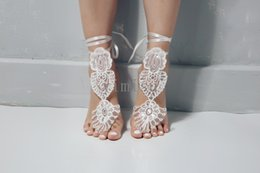 $enCountryForm.capitalKeyWord Australia - 2020 Exquisite Ivory Sequin Wedding Barefoot sandals Anklet Bridesmaid gift Beach Bridal Shoes Swarovski Crystal Cheap In Stock