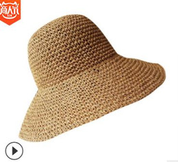Chinese  Large alongside handmade crochet sunshade hat female summer sunscreen fisherman folding beach hat seaside holiday sun hat manufacturers