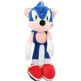 sonic toys for UK - 1pcs 30cm Sonic Plush Toys Doll Blue Sonic The Hedgehog Plush Soft Stuffed Toys for Kids Children Christmas Gifts