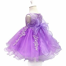Chinese  Flower Girls Lace Wedding Dress Baby Girls Christening Cake princess Dresses for Party Occasion Kids 1 Year Baby Birthday Dress manufacturers