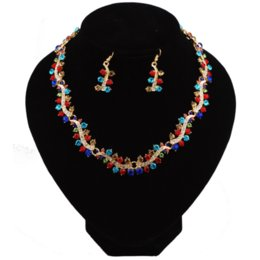 $enCountryForm.capitalKeyWord UK - The New Bride Wedding Jewelry Set for Charming Women Clothing Accessories Multicolor Glass Crystal Necklace Earrings Set Gifts