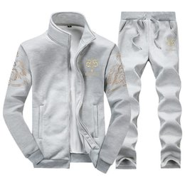 Zipper Technology Australia - Wholetide Korean Edition Mens Personalized Letter Embroidery Technology Track Suit Comfortably Breathable Sweater Trousers Sports Suit