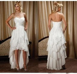 $enCountryForm.capitalKeyWord Australia - New Arrival Hi-Lo Chiffon Beach Wedding Dresses 2019 Newest Cheap Beaded Sash Sweetheart Country Western Wedding Bridal Gowns Custom Made