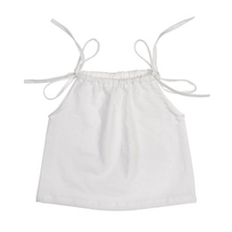 Kids Sleeveless White T Shirts Australia - LONSANT Infant Baby vest Toddler Kids Solid Sleeveless T-shirt girls cotton strap Tops summer newborn daily Clothing Outfits