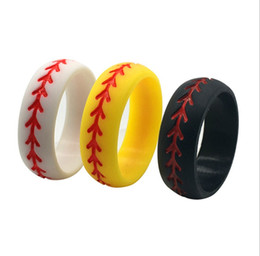 Silicon jewelry online shopping - Fashion baseball silicon rings white yellow black couple lovers jewelry accessories Valentine s Day gifts sports ring