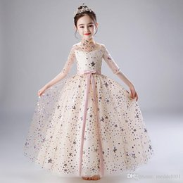 real cute girl princess dress Canada - 2019 New Retail Beauty Appliques Petal Princess Evening Prom Gown Long Dress With Stars Embroidery Cute Flower Girls Dress