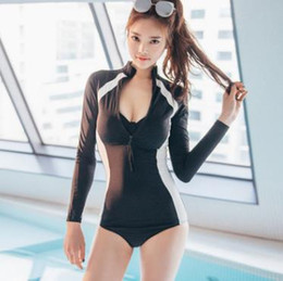 5f40d224da3cc 2019 Hot Summer Long Sleeve Zipper Rash Guard Swimwear One Piece Swimsuit  Women Sun-protection Bodysuits Lady Zipper Swim Wear Bathing Suit