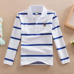Children S Boys Shirts Australia - New Boys Tops 2018 Kid T Shirts Spring Autumn Boys Long Sleeve Tshirt Cotton Striped Shirt For Children Turn-down Collar Clothes Y190518