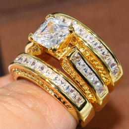 14kt ring yellow Australia - Hotstone88 Sparkling Fashion Jewelry Princess Ring 14KT Yellow Gold Filled 3 IN 1 White Topaz Party CZ Diamond Women Wedding Bridal Ring