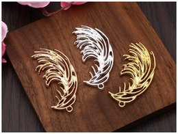kc gold color UK - 50pcs 20*47mm kc gold silver Color Alloy Material Big leaf branch Charm for wedding DIY Handmade Headpieces Jewelry Making