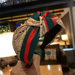 headbands hair nets Australia - Korean hair accessories net red letters red and green stripes knotted headband wide-brimmed hair card satin stitching foreign gas headband
