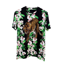 mens leopard print t shirts Canada - S-2XL Men Designer Print Arrival Flowers Shirt Fashion Short High Quality T New Leopard Casual Mens Sleeve Women 2020 Riveh