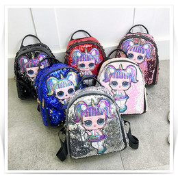 Wholesale Women Sequined shoulder bag colors Girl Cartoon LOL Dolls backpack School Bags Children Embroidery Anime back bag JY400
