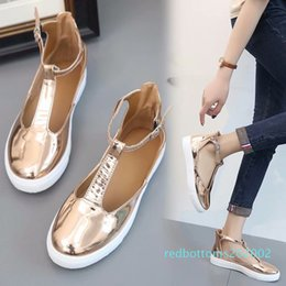t flats NZ - Summer Sandals Gold Women Flat Closed Toe Sandalia Feminina T Strap Casual Shoes Ladies Footwear Plus Size Zapatos Mujer r02