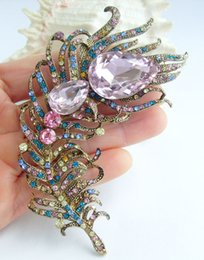 "$enCountryForm.capitalKeyWord UK - Art Nouveau 4.33"" Multicolor Crystal Rhinestone Peacock Feather Animal Brooch Pin Pendant EE05038C9"