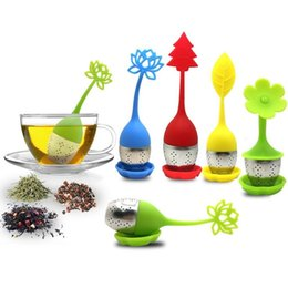 China Flower Shape Silicone Tea Infuser Stainless Steel Strainer Infuser with Drip Tray for Loose Leaf Grain Tea Cups Mugs Teapots cheap teapot shapes suppliers