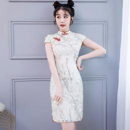 Lady S Dresses Australia - Stylish Ladies Mandarin Collar Cheongsam Dress Chinese Style Stage Show Elegant Embroidery Lace Classic Short Qipao Size S-3XL