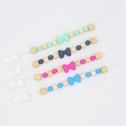 $enCountryForm.capitalKeyWord Australia - Baby Pacifier Clip Chain Baby Grade Silicone Wood Beads Bow Anti-Drop Chain Anti-Lost