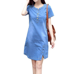 b343daa03c Boodinerinle Korean Plus Size Denim Dress For Women Summer Dress 2019  Casual With Button Pocket Sexy Mini Jeans Dress 3xl C19041201