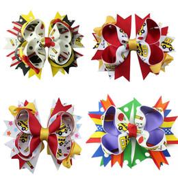 Discount bow clip designs - 5 inch New Fashion Handmade Boutique Multi - color geometric design Hair Bows Alligator Clip Kids Girls Hair Accessories