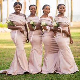 Champagne mermaid style prom dresses online shopping - African Style One Shoulder Slim Mermaid Bridesmaids Dresses Modest Customized Vestidos De Bridesmaid Prom Party Gowns Simple Prom Gown