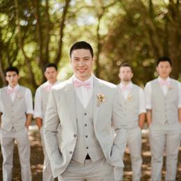 $enCountryForm.capitalKeyWord NZ - Beige Fashion Groomsmen Wedding Tuxedos Notched Lapel 3 Pieces Mens Pants Suits Slim Fit Groom Formal Wear