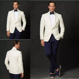 $enCountryForm.capitalKeyWord Canada - Latest designs Handsome Ivory Men Suits For Wedding Suits Blazer Slim Fit Groom Wear Tuxedos Business Suits 2Pieces Best Man Jacket+Pants
